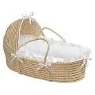 Badger Basket Hooded Moses Basket - Natural/White