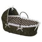 Badger Basket Hooded Moses Basket - Brown Polka Dot