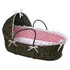 Badger Basket Hooded Moses Basket - Pink/White Polka Dot