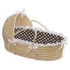 Badger Basket Hooded Moses Basket - Brown/White Polka Dot