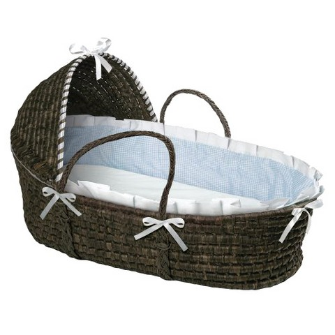Badger Basket Hooded Moses Basket - Blue Gingham/Espresso