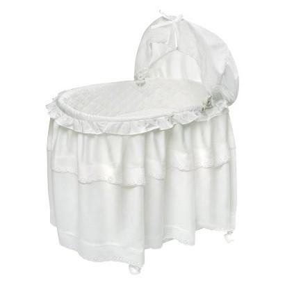 Badger Basket Batiste Bassinet Floor Length Skirt - White