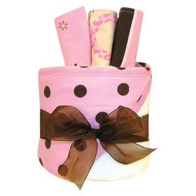 Trend Lab 4 Pc. Hooded Towel and Wash Cloth Gift Cake Set -  Maya