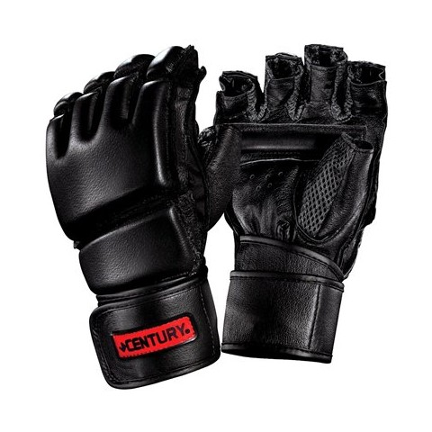 Century Men's Leather Wrap Gloves w/Clinch  - Black/ Red (Large/ X Large)