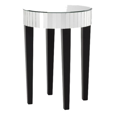 Mirrored round living room accent side end table product details page