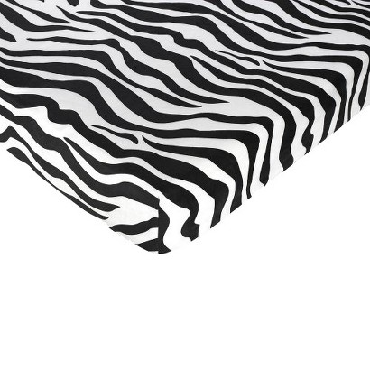 Sweet Jojo Designs Zebra Fitted Crib Sheet - Zebra Print