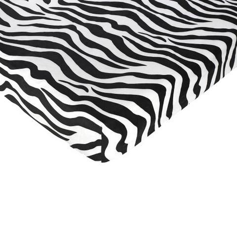 Sweet Jojo Designs Zebra Fitted Crib Sheet - Zebra Print