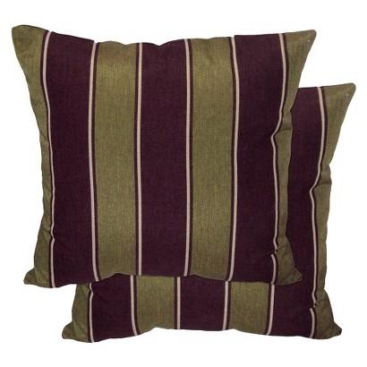 """2-Piece Outdoor Toss Pillow Set - Brown/Green Stripe 18"""""""