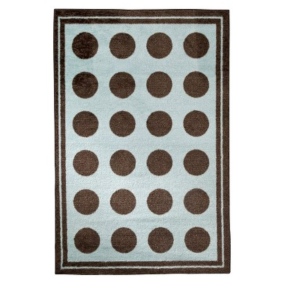 Mohawk Brown Dot Rug in Soft Aqua
