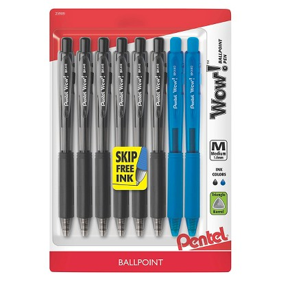 Pentel  WOW 6ct Black  Ballpoint Retractable Pen