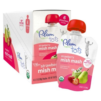 Plum Organics Tots Mish Mash Organic Fruit Snack Strawberry - 3.17 oz. (6 Pack)