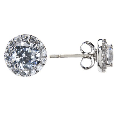 Sterling Silver Cubic Zirconia Small Round Cubic Zirconia Earring