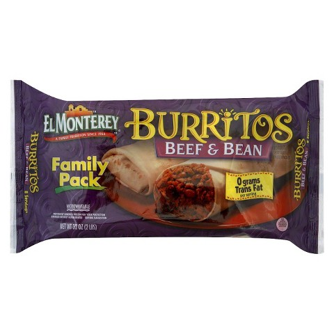 El Monterey Family Pack Beef & Bean Burritos 8 ct