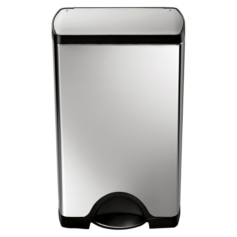 simplehuman studio 38 Liter Rectangular Step Trash Can in Brushed Stainless Steel