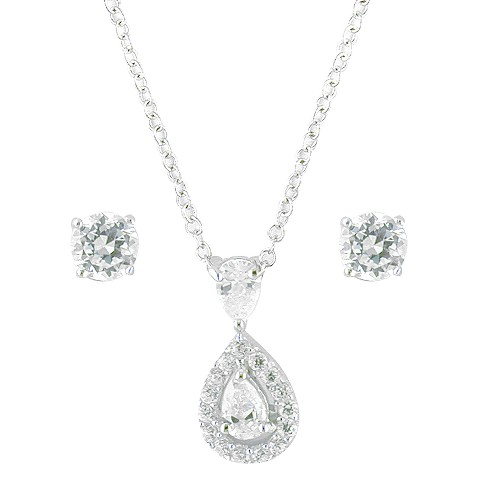 Sterling Silver Cubic Zirconia Pear Drop Necklace And Stud Earrings - Silver/White