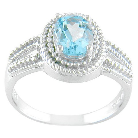 Sterling Silver Oval Blue Topaz Rope Detail Ring - Silver/Blue