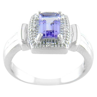 Sterling Silver Square Amethyst Ring - Silver/Purple