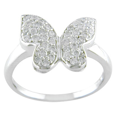 Sterling Silver Cubic Zirconia Pave Butterfly Ring - Silver/White