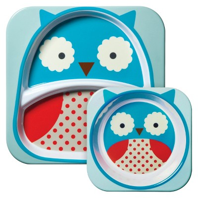 Skip Hop Zoo Little Kids & Toddler Melamine Tableware Set, Owl
