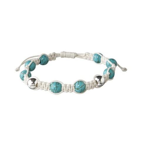 Turquoise Bead Cotton Cord Adjustable Bracelet - Ecru