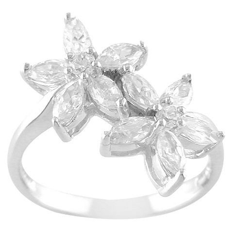 Sterling Silver Cubic Zirconia Double Flower Ring - Silver/White