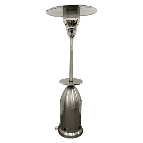 Tall Tapered Propane Patio Heater with Table - Stainless Steel