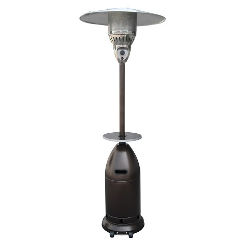Tall Tapered Propane Patio Heater with Table - Hammered Bronze