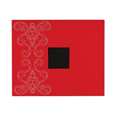"American Crafts Crimson With Embroidered Flourish Patterned 3-Ring Album  - 12""X12"""