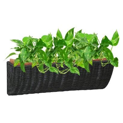 Resin Wicker Wall Basket Planter