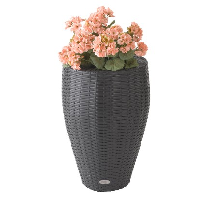 Vista Resin Wicker Round Curved Planter - Black