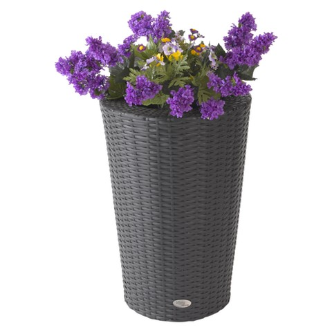 Vista Resin Wicker Round Planter -Black