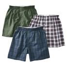 Boys Hanes® Green Plaid 3-pack Woven Boxer Underwear