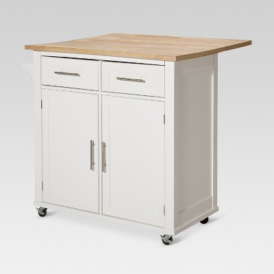 Large Kitchen Island with Wood Top and Storage - White - Threshold™