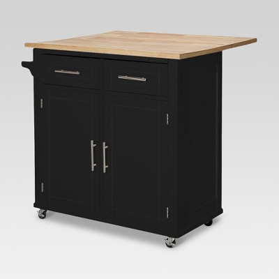Large Kitchen Island with Wood Top and Storage - Black - Threshold™