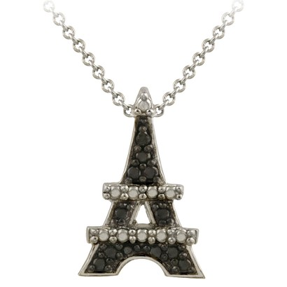 Sterling Silver Diamond Accent Eiffel Tower Necklace - Black