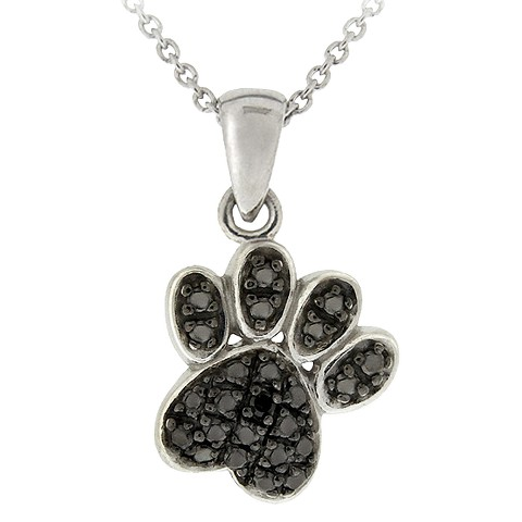 Sterling Silver Diamond Accent Paw Print Necklace - Black