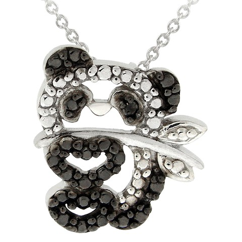 Sterling Silver Diamond Accent Panda Bear Necklace - Black