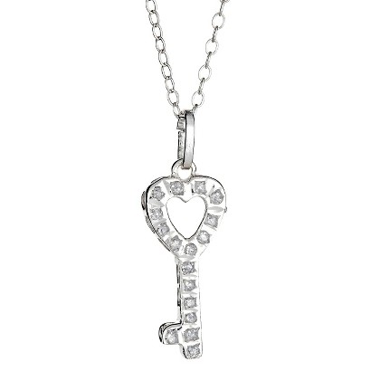 Sterling Silver Key Pendant Necklace with Diamond Accents - White