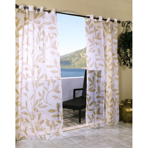 Outdoor Decor™ Escape Leaf Indoor/Outdoor Grommet Top Sheer Curtain Panel