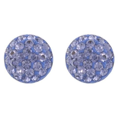 Sterling Silver 9mm Crystal Half Ball Stud Earrings