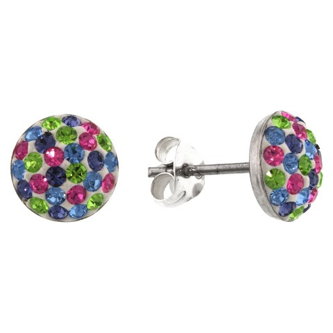 Sterling Silver 9mm Crystal Half Ball Stud Earrings