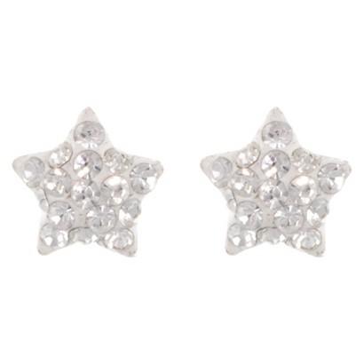 Sterling Silver 8mm Crystal Star Stud Earrings