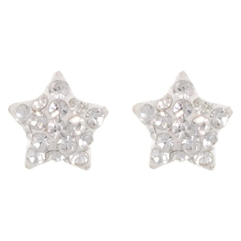 Sterling Silver 8mm Crystal Star Stud Earrings