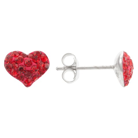 8mm Crystal Puff Heart Earrings - Red