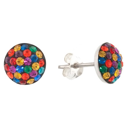 Sterling Silver 9mm Crystal Half Ball Stud Earrings - Multicolor