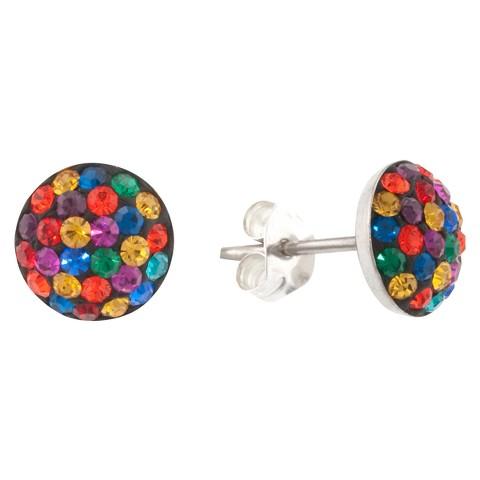 Sterling Silver 9mm Crystal Half Ball Stud Earrings - Multicolor