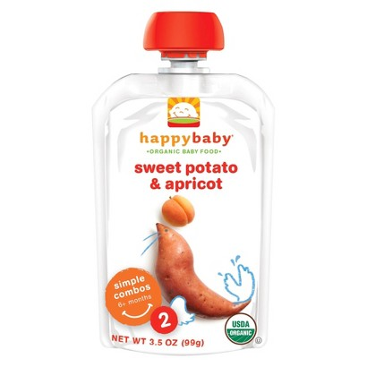 Happy Baby Organic Baby Food Stage 2 - Apricot & Sweet Potato (8 Pack)