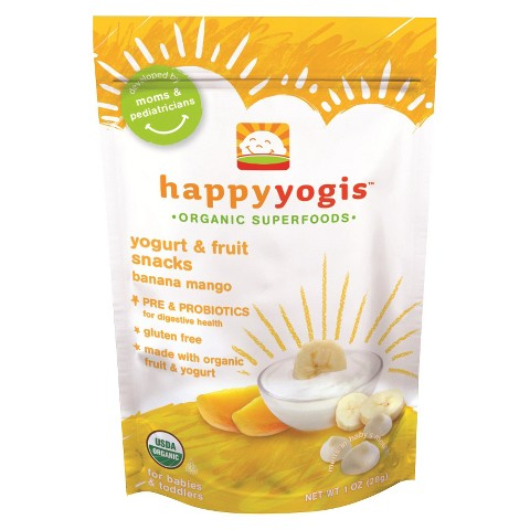 HappyBaby HappyYogis Organic Yogurt Snacks - Banana Mango (8 Pack)