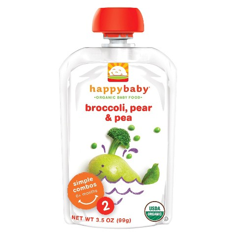 Happy Baby Organic Baby Food Stage 2 - Broccoli, Pear & Peas (8 Pack)