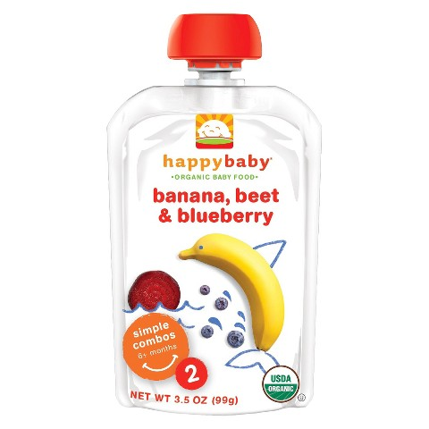 Happy Baby Organic Baby Food Stage 2 - Banana, Beet & Blueberry (8 Pack)